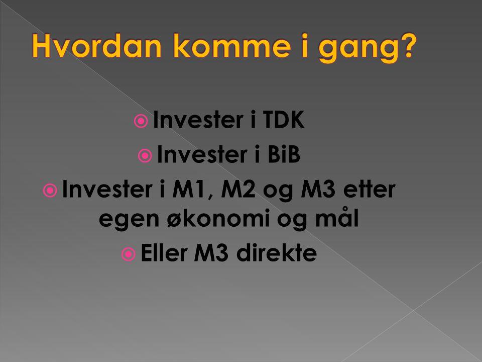  Invester i TDK  Invester i BiB  Invester i M1, M2 og M3 etter egen økonomi og mål  Eller M3 direkte