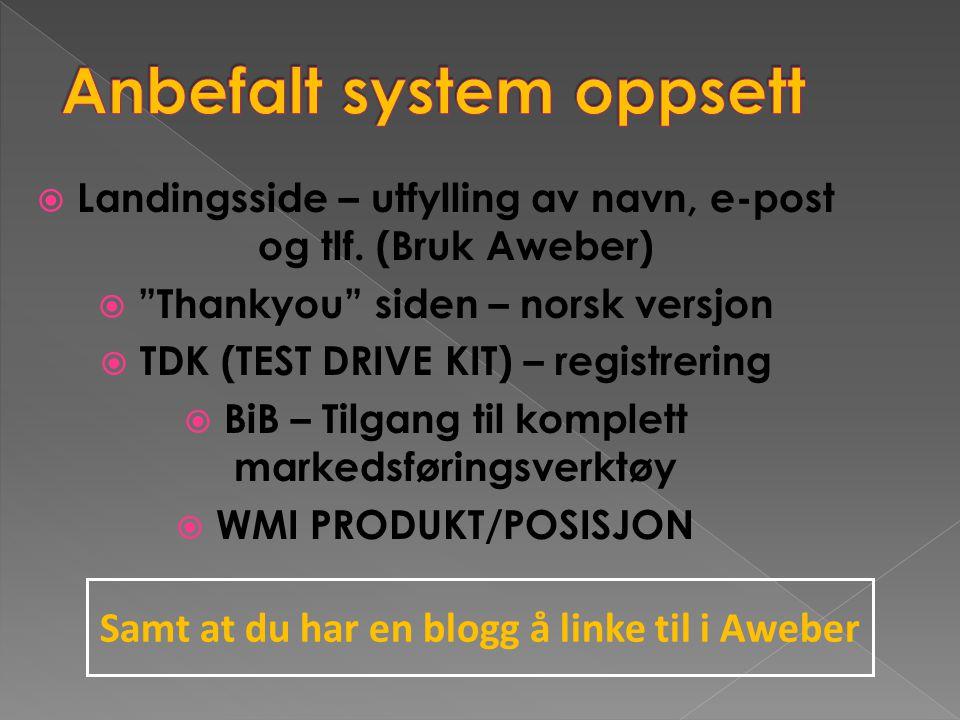""" Landingsside – utfylling av navn, e-post og tlf. (Bruk Aweber)  """"Thankyou"""" siden – norsk versjon  TDK (TEST DRIVE KIT) – registrering  BiB – Tilg"""
