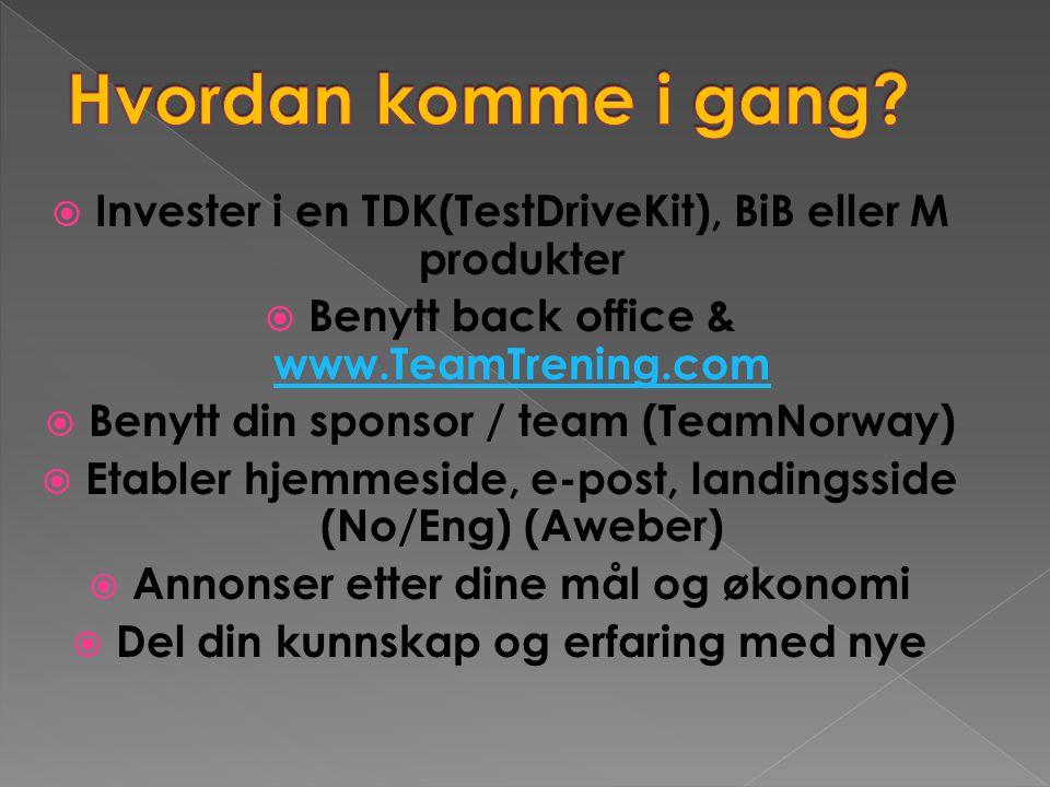  Invester i en TDK(TestDriveKit), BiB eller M produkter  Benytt back office & www.TeamTrening.com www.TeamTrening.com  Benytt din sponsor / team (T