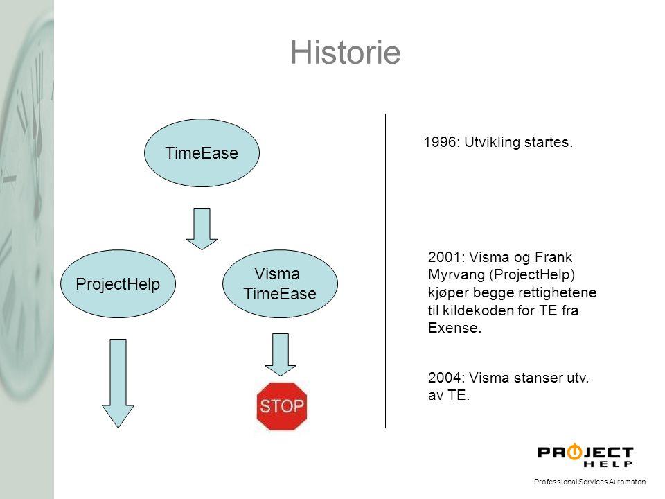 Professional Services Automation Historie TimeEase ProjectHelp Visma TimeEase 1996: Utvikling startes. 2001: Visma og Frank Myrvang (ProjectHelp) kjøp