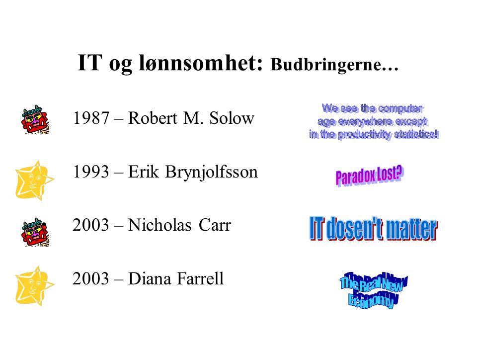 IT og lønnsomhet: Budbringerne… • 1987 – Robert M. Solow • 1993 – Erik Brynjolfsson • 2003 – Nicholas Carr • 2003 – Diana Farrell