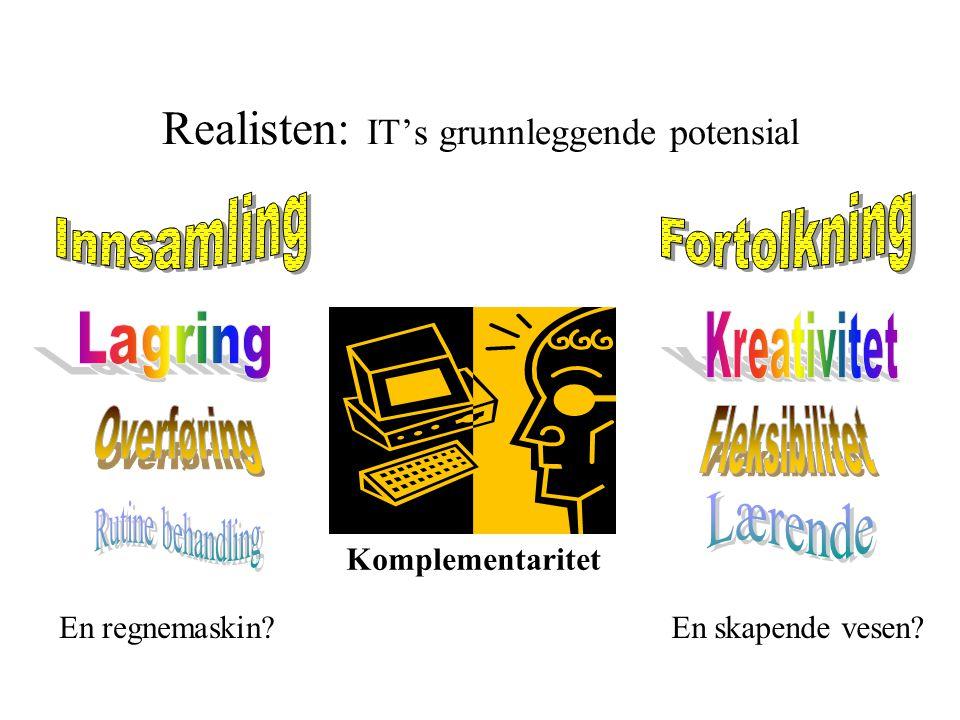 Realisten: IT's grunnleggende potensial Komplementaritet En regnemaskin En skapende vesen