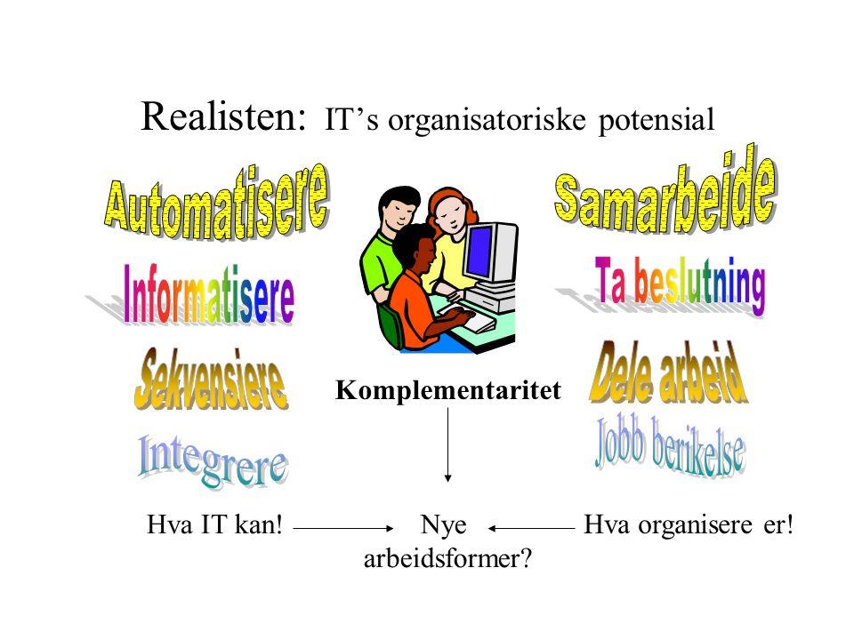 Realisten: IT's organisatoriske potensial Komplementaritet Hva IT kan! Hva organisere er! Nye arbeidsformer?