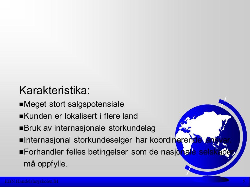 EBN Handelshøyskolen BI5 Karakteristika: n Meget stort salgspotensiale n Kunden er lokalisert i flere land n Bruk av internasjonale storkundelag n Internasjonal storkundeselger har koordinerende ansvar.