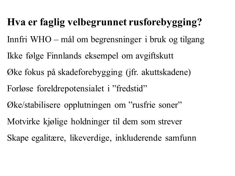 Hva er faglig velbegrunnet rusforebygging? Innfri WHO – mål om begrensninger i bruk og tilgang Ikke følge Finnlands eksempel om avgiftskutt Øke fokus
