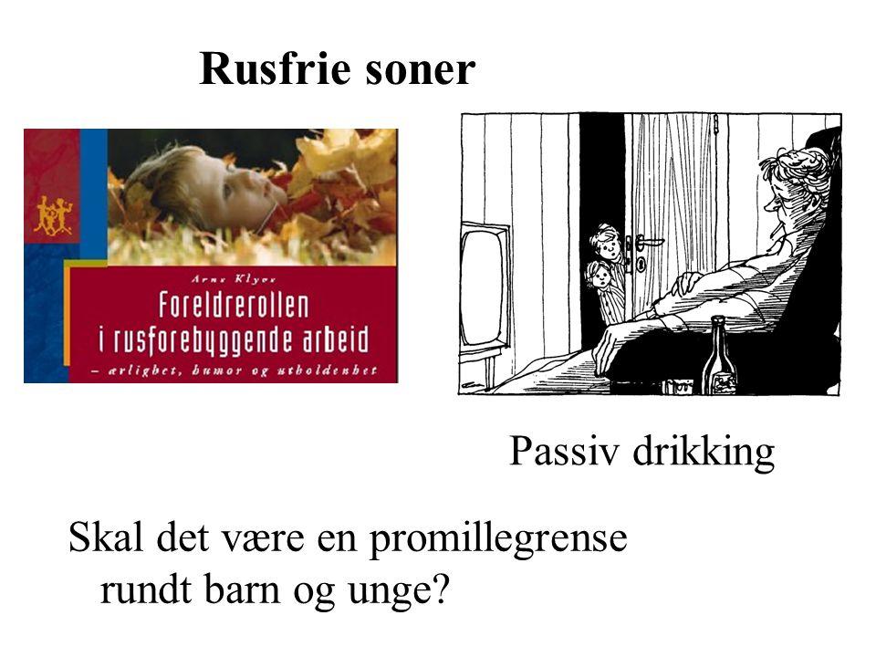 Rusfrie soner Skal det være en promillegrense rundt barn og unge? Passiv drikking