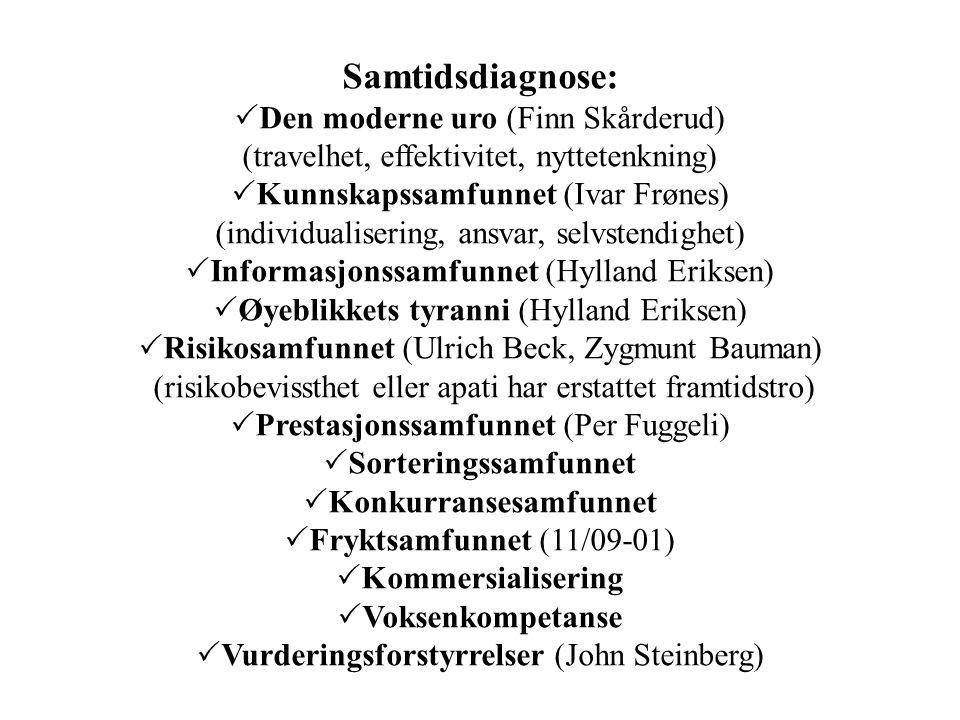 Samtidsdiagnose:  Den moderne uro (Finn Skårderud) (travelhet, effektivitet, nyttetenkning)  Kunnskapssamfunnet (Ivar Frønes) (individualisering, an