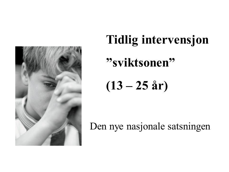 """Tidlig intervensjon """"sviktsonen"""" (13 – 25 år) Den nye nasjonale satsningen"""