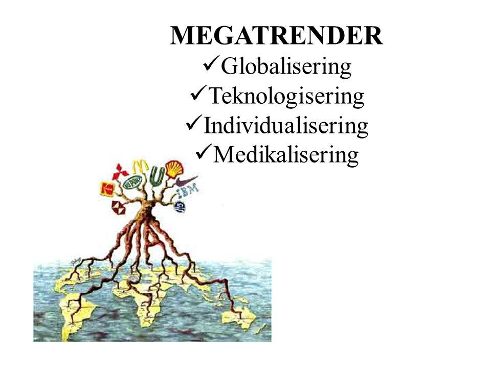 MEGATRENDER  Globalisering  Teknologisering  Individualisering  Medikalisering