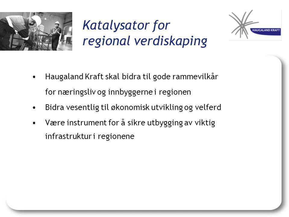 Katalysator for regional verdiskaping •Haugaland Kraft skal bidra til gode rammevilkår for næringsliv og innbyggerne i regionen •Bidra vesentlig til økonomisk utvikling og velferd •Være instrument for å sikre utbygging av viktig infrastruktur i regionene