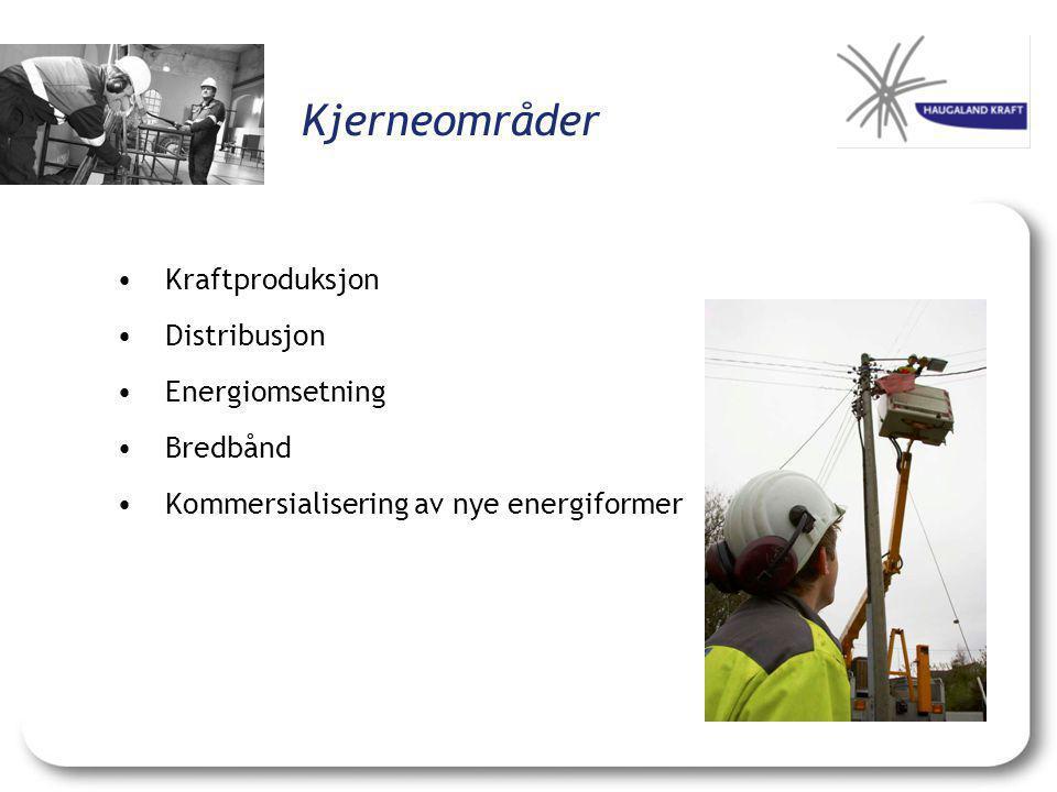 Kjerneområder •Kraftproduksjon •Distribusjon •Energiomsetning •Bredbånd •Kommersialisering av nye energiformer