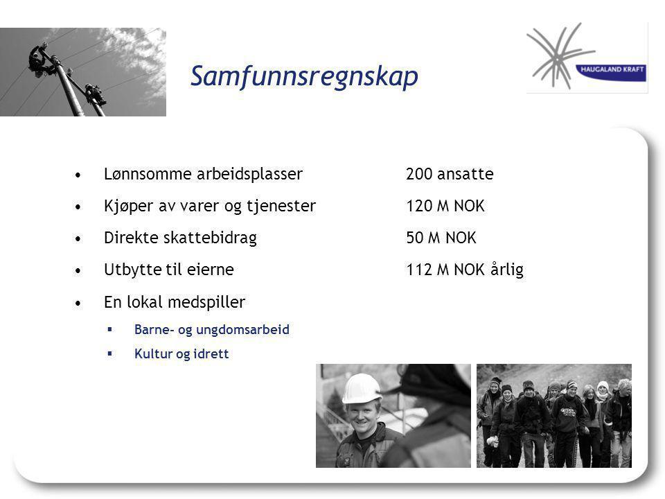 Samfunnsregnskap •Lønnsomme arbeidsplasser200 ansatte •Kjøper av varer og tjenester120 M NOK •Direkte skattebidrag 50 M NOK •Utbytte til eierne 112 M
