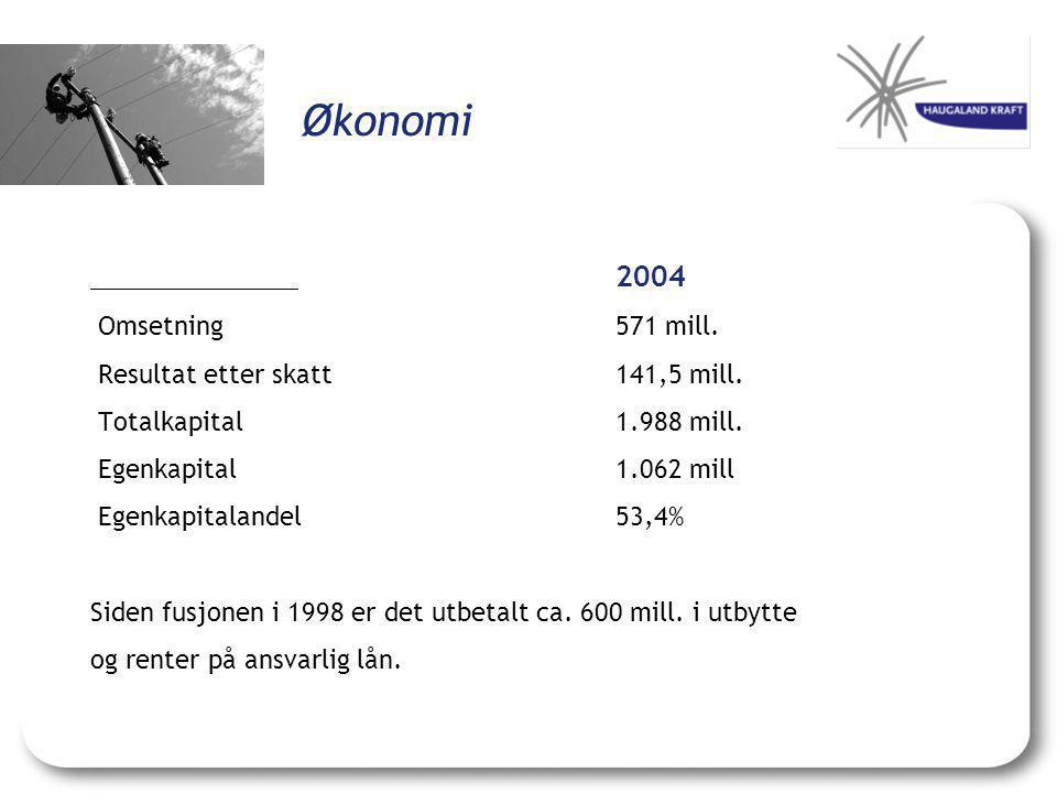 Økonomi 2004 Omsetning571 mill.Resultat etter skatt141,5 mill.