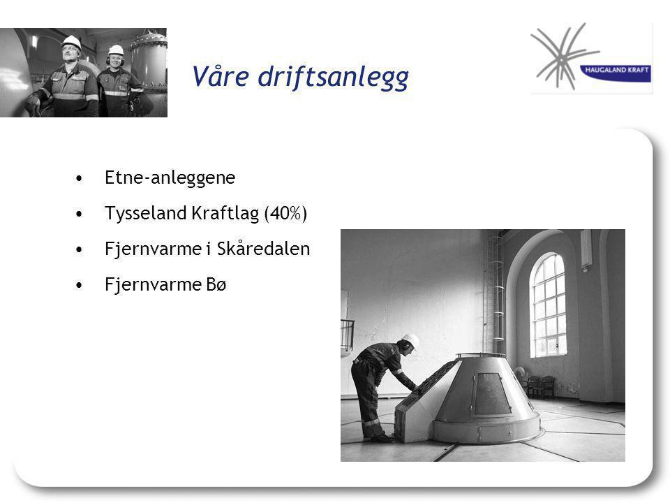Våre driftsanlegg •Etne-anleggene •Tysseland Kraftlag (40%) •Fjernvarme i Skåredalen •Fjernvarme Bø