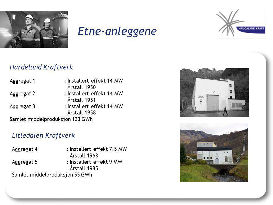 Etne-anleggene Hardeland Kraftverk Aggregat 1: Installert effekt 14 MW Årstall 1950 Aggregat 2: Installert effekt 14 MW Årstall 1951 Aggregat 3: Insta