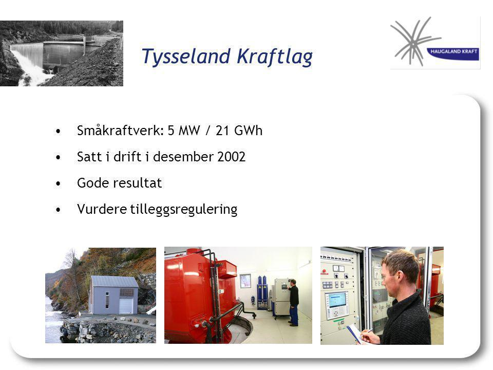 Tysseland Kraftlag •Småkraftverk: 5 MW / 21 GWh •Satt i drift i desember 2002 •Gode resultat •Vurdere tilleggsregulering