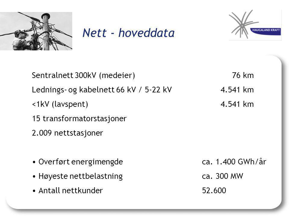 Nett - hoveddata Sentralnett 300kV (medeier) 76 km Lednings- og kabelnett 66 kV / 5-22 kV4.541 km <1kV (lavspent)4.541 km 15 transformatorstasjoner 2.