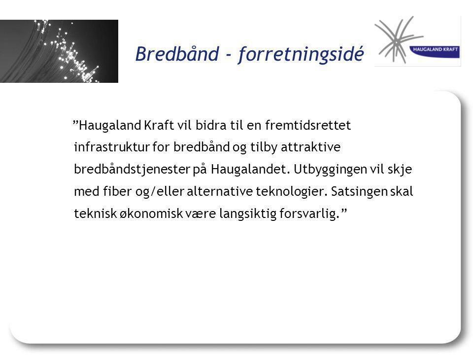 """Bredbånd - forretningsidé """"Haugaland Kraft vil bidra til en fremtidsrettet infrastruktur for bredbånd og tilby attraktive bredbåndstjenester på Haugal"""