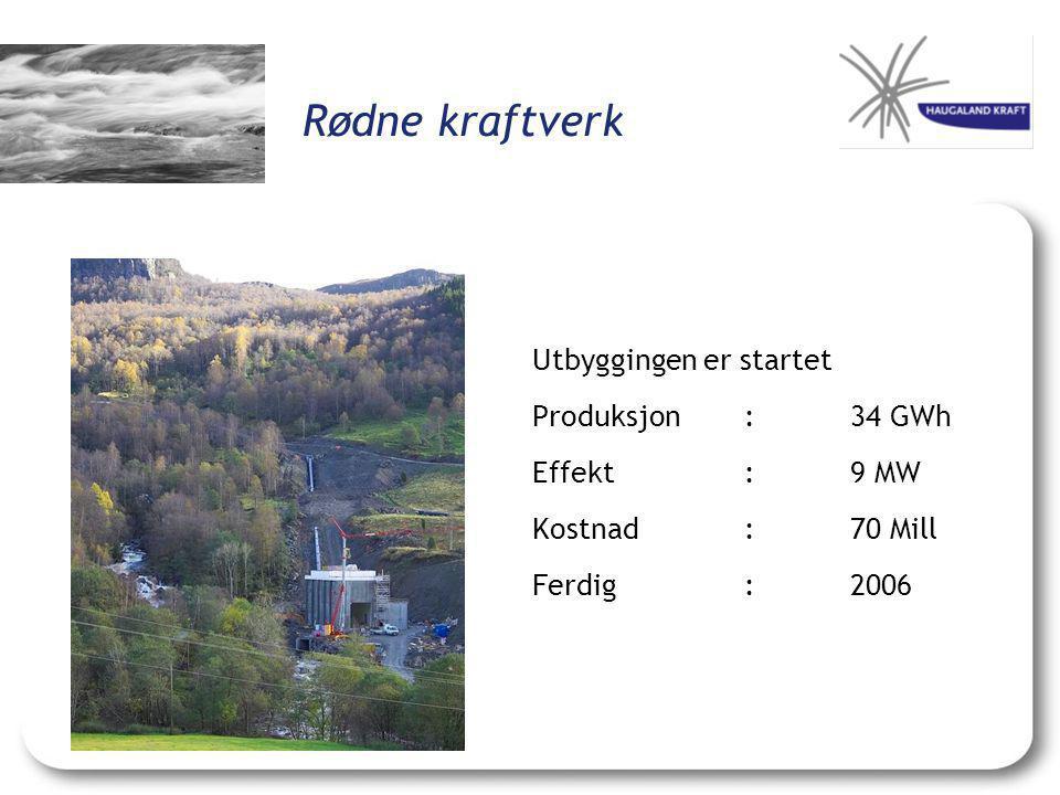 Rødne kraftverk Utbyggingen er startet Produksjon :34 GWh Effekt:9 MW Kostnad:70 Mill Ferdig:2006