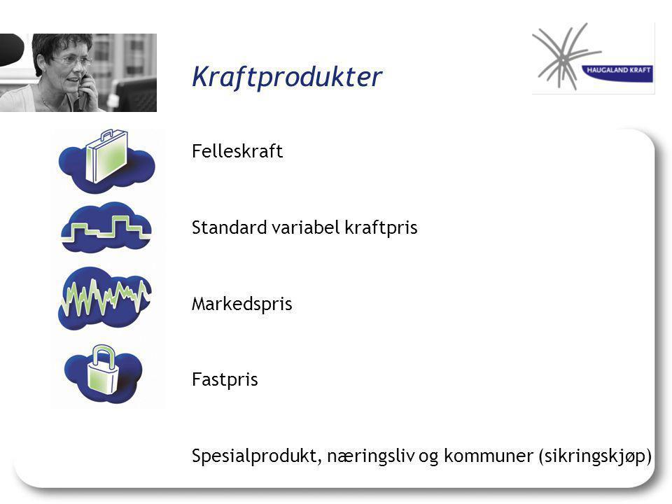 Kraftprodukter Felleskraft Standard variabel kraftpris Markedspris Fastpris Spesialprodukt, næringsliv og kommuner (sikringskjøp)
