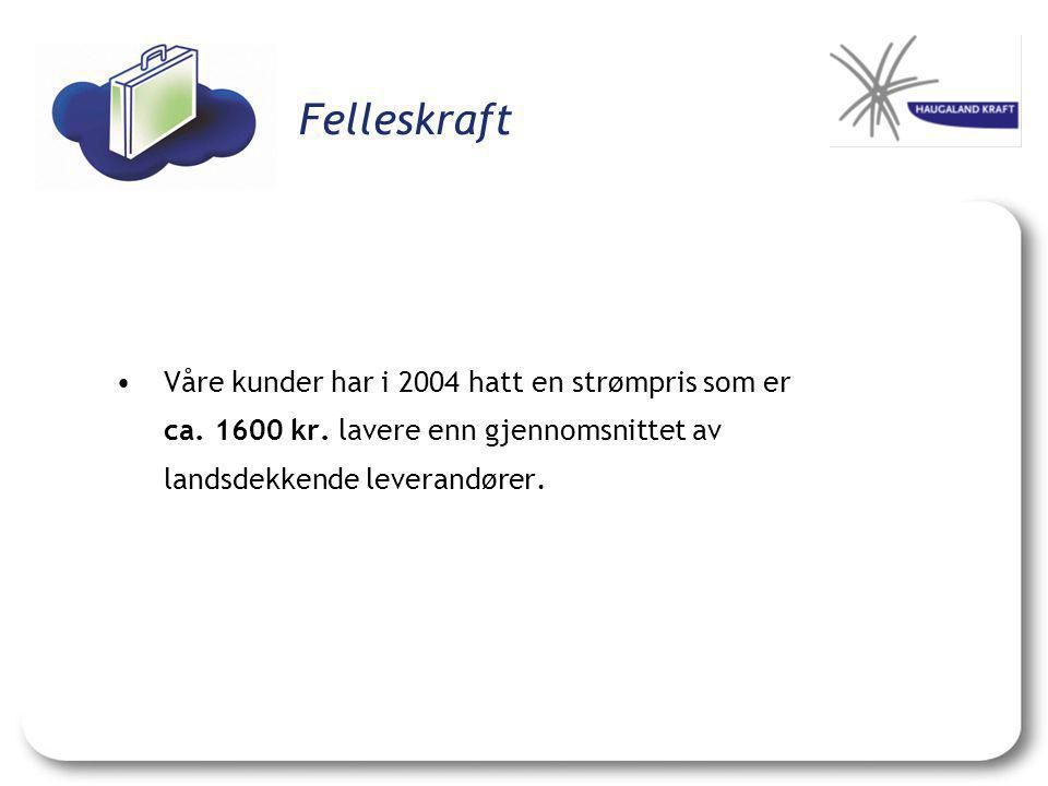 Felleskraft •Våre kunder har i 2004 hatt en strømpris som er ca. 1600 kr. lavere enn gjennomsnittet av landsdekkende leverandører.