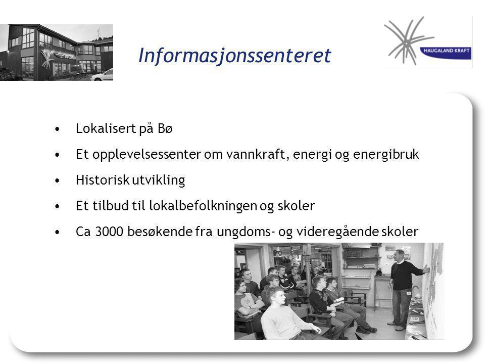 Informasjonssenteret •Lokalisert på Bø •Et opplevelsessenter om vannkraft, energi og energibruk •Historisk utvikling •Et tilbud til lokalbefolkningen og skoler •Ca 3000 besøkende fra ungdoms- og videregående skoler