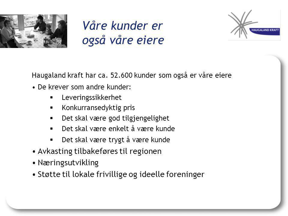Våre kunder er også våre eiere Haugaland kraft har ca. 52.600 kunder som også er våre eiere •De krever som andre kunder:  Leveringssikkerhet  Konkur