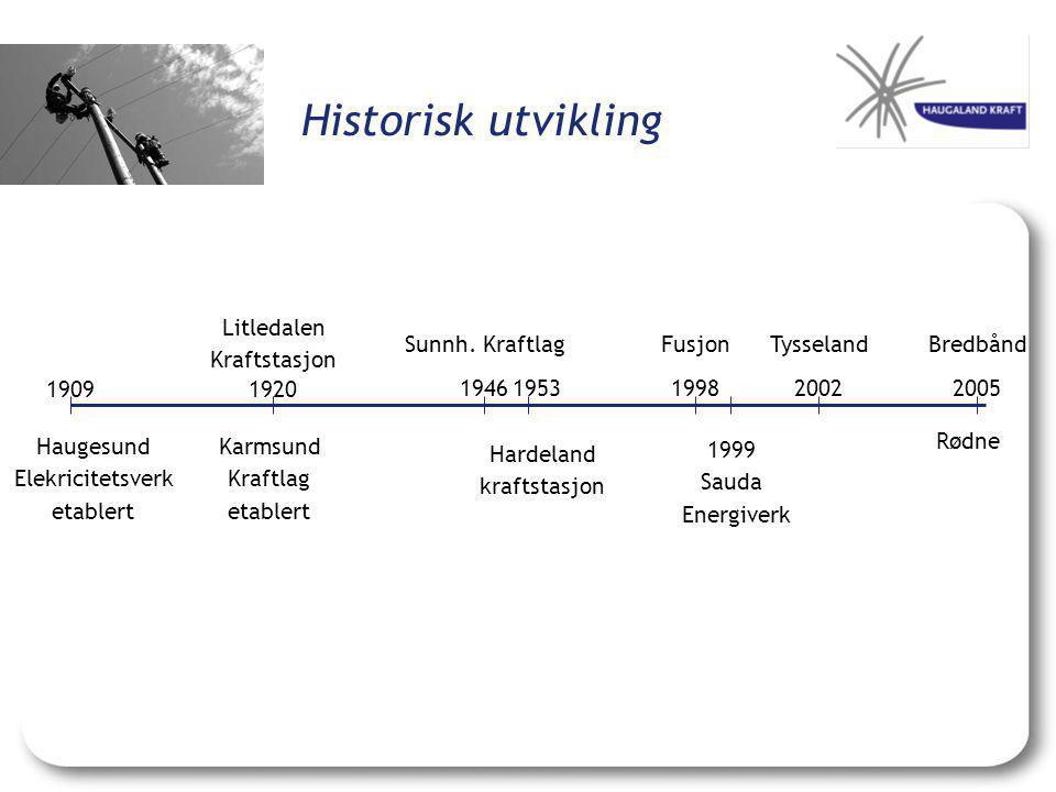 Haugesund Elekricitetsverk etablert Litledalen Kraftstasjon Karmsund Kraftlag etablert 19091920 Hardeland kraftstasjon Sunnh. KraftlagTysseland 1998 F