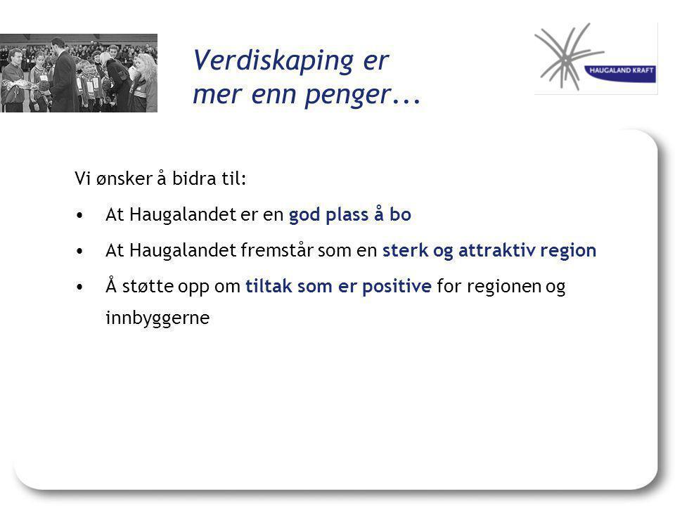 Verdiskaping er mer enn penger... Vi ønsker å bidra til: •At Haugalandet er en god plass å bo •At Haugalandet fremstår som en sterk og attraktiv regio