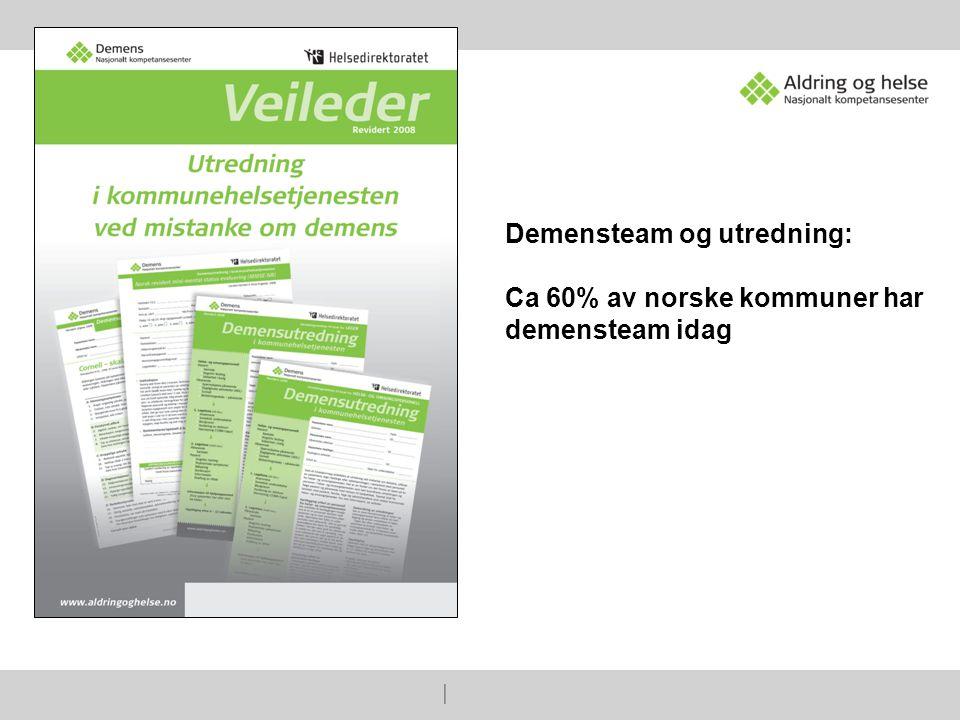   Demensteam og utredning: Ca 60% av norske kommuner har demensteam idag