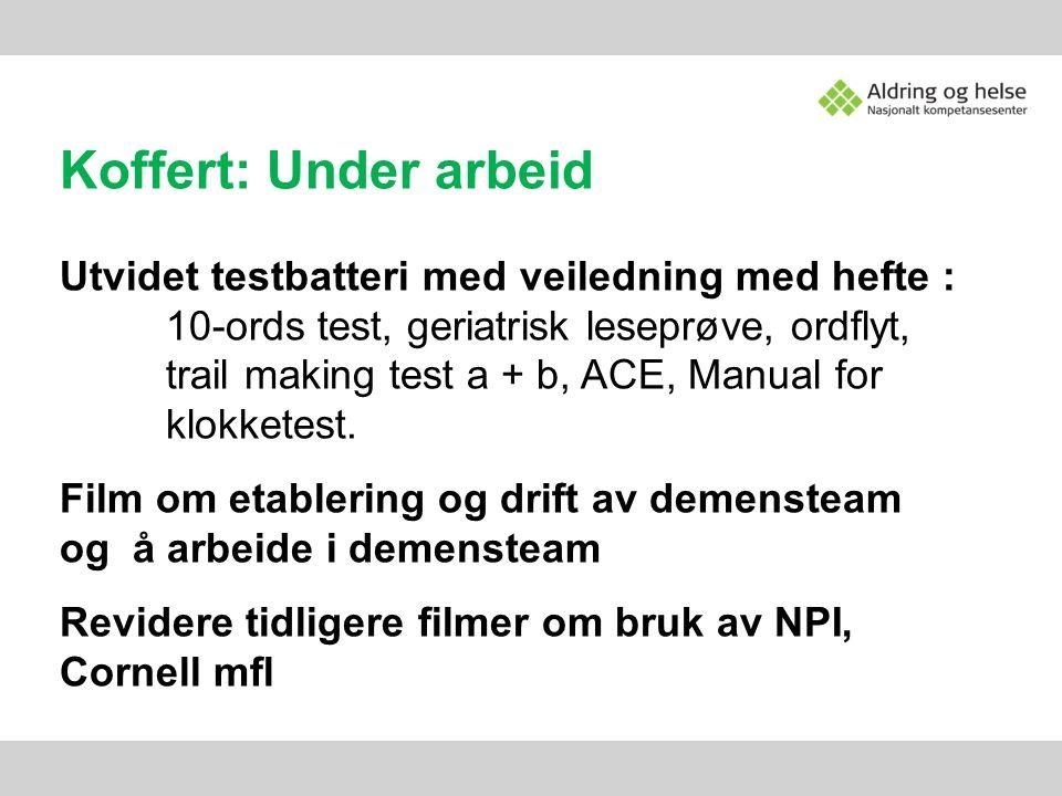 Koffert: Under arbeid Utvidet testbatteri med veiledning med hefte : 10-ords test, geriatrisk leseprøve, ordflyt, trail making test a + b, ACE, Manual