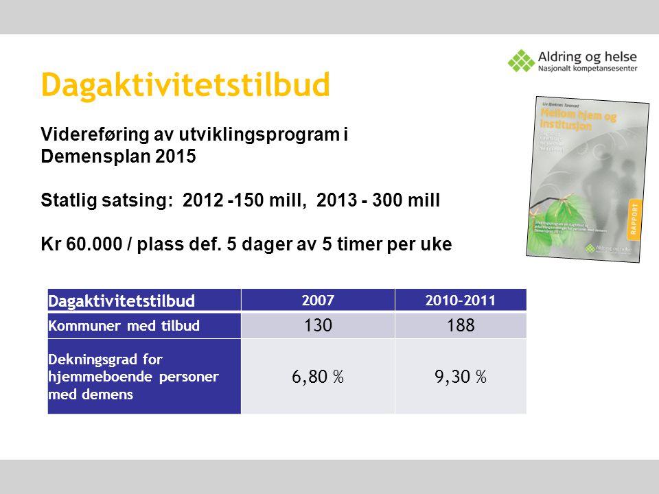 Dagaktivitetstilbud 20072010-2011 Kommuner med tilbud 130188 Dekningsgrad for hjemmeboende personer med demens 6,80 %9,30 % Videreføring av utviklings