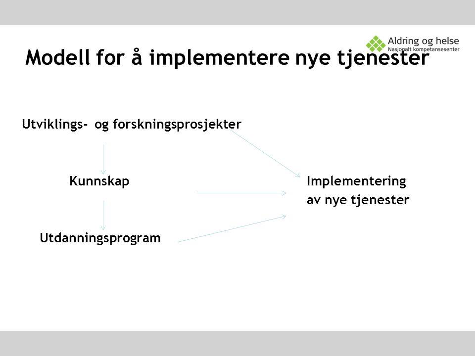 Modell for å implementere nye tjenester Utviklings- og forskningsprosjekter KunnskapImplementering av nye tjenester Utdanningsprogram