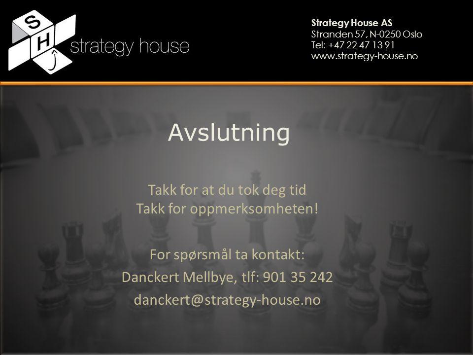 Strategy House AS Stranden 57, N-0250 Oslo Tel: +47 22 47 13 91 www.strategy-house.no Avslutning Takk for at du tok deg tid Takk for oppmerksomheten!