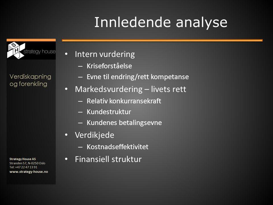 Innledende analyse • Intern vurdering – Kriseforståelse – Evne til endring/rett kompetanse • Markedsvurdering – livets rett – Relativ konkurransekraft
