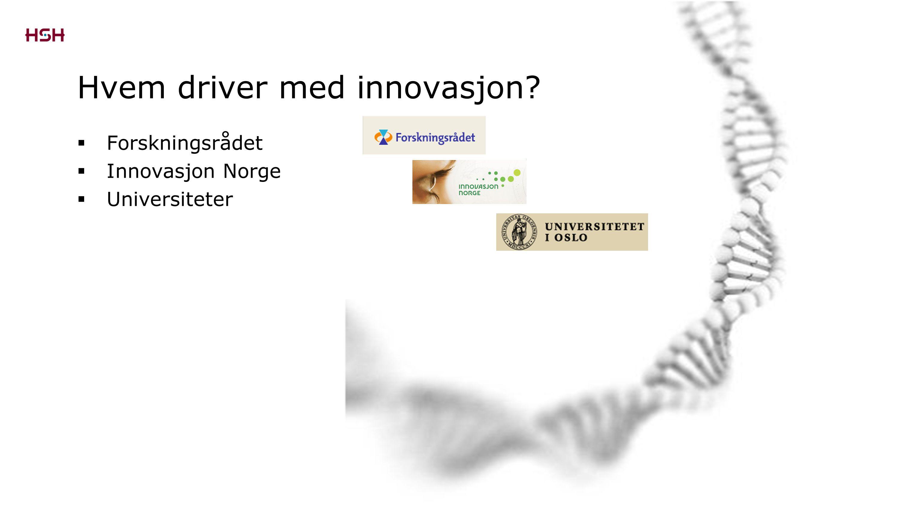 Forskningsrådet  Innovasjon Norge  Universiteter Hvem driver med innovasjon?