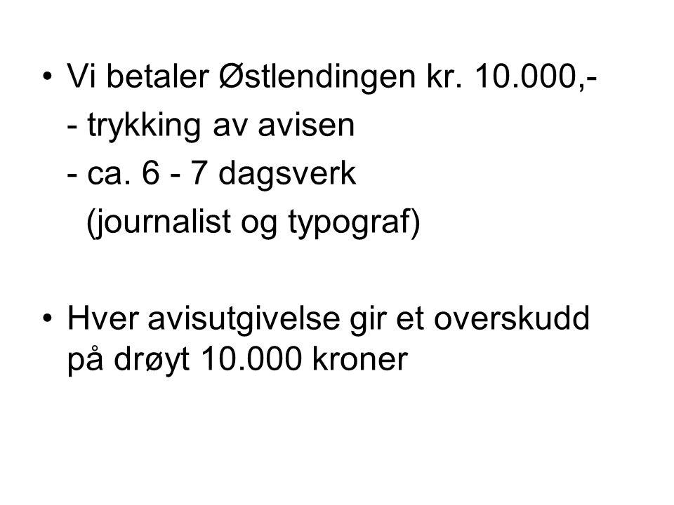 •Vi betaler Østlendingen kr.10.000,- - trykking av avisen - ca.