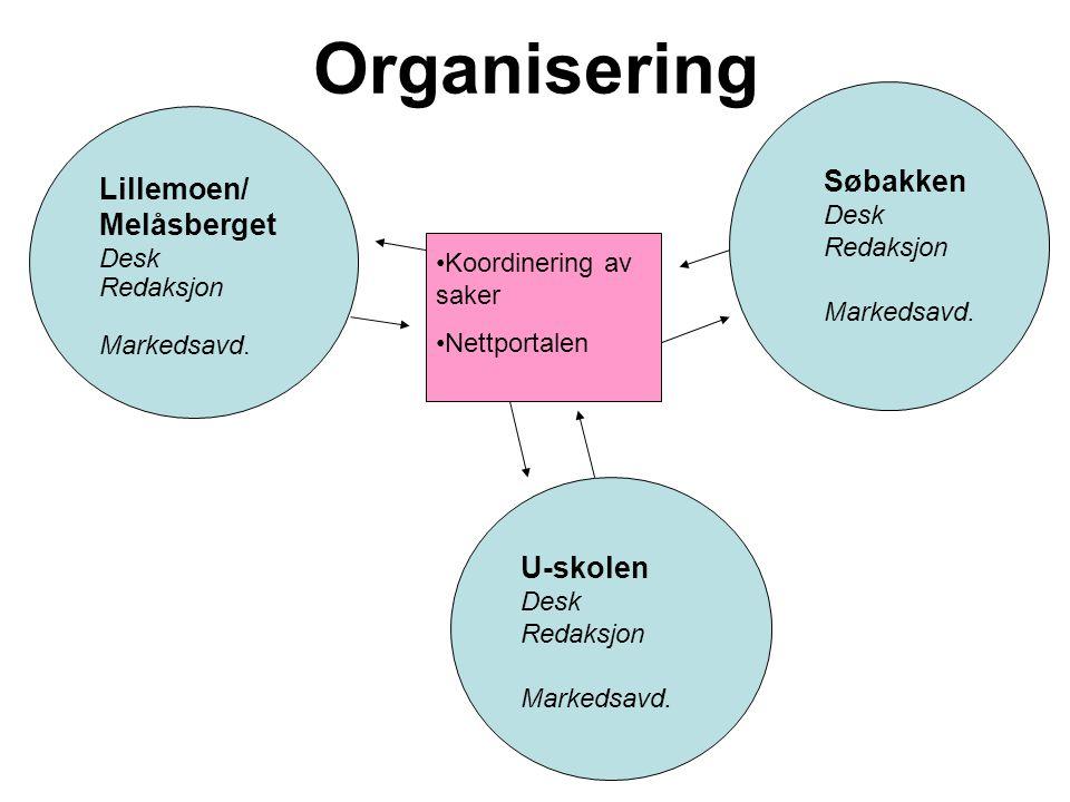 Organisering Lillemoen/ Melåsberget Desk Redaksjon Markedsavd.