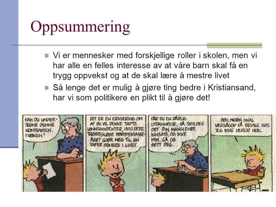 Oppsummering  Vi er mennesker med forskjellige roller i skolen, men vi har alle en felles interesse av at våre barn skal få en trygg oppvekst og at de skal lære å mestre livet  Så lenge det er mulig å gjøre ting bedre i Kristiansand, har vi som politikere en plikt til å gjøre det!