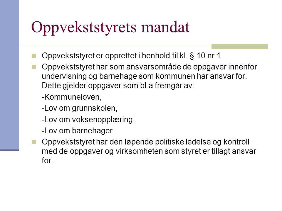 Oppvekststyrets mandat  Oppvekststyret er opprettet i henhold til kl.