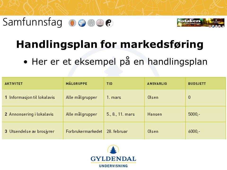 Handlingsplan for markedsføring •Her er et eksempel på en handlingsplan