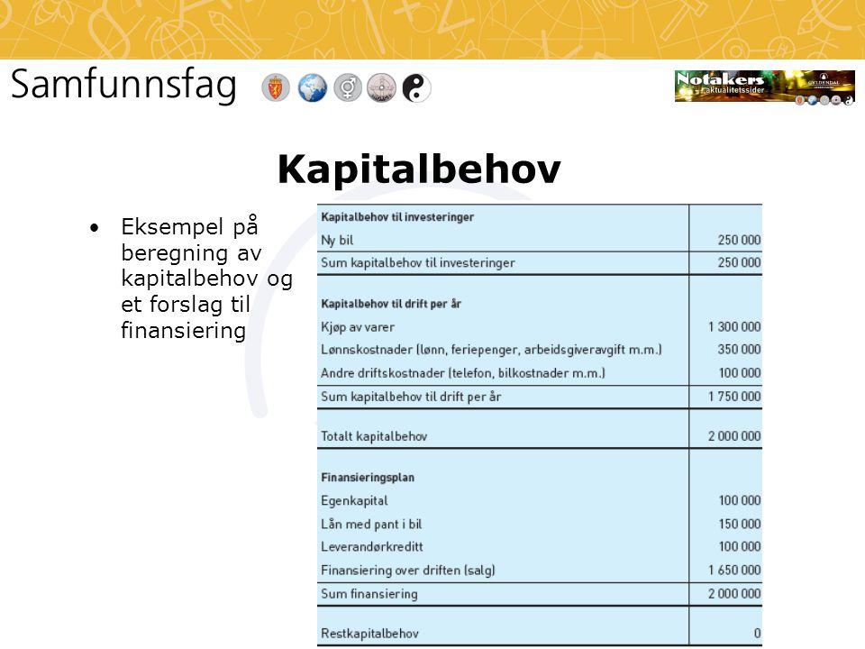 Kapitalbehov •Eksempel på beregning av kapitalbehov og et forslag til finansiering