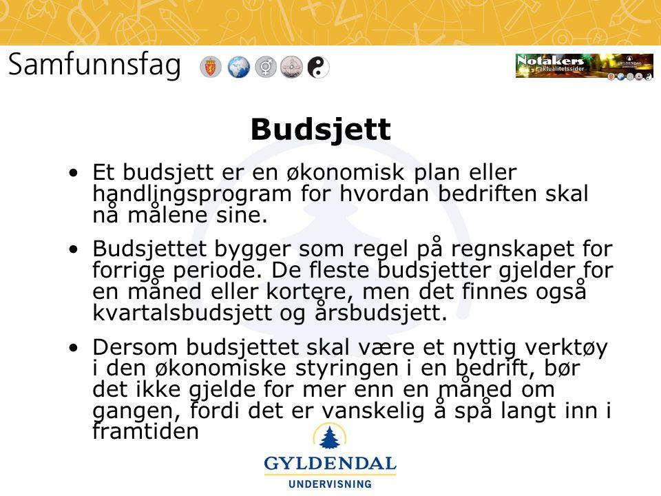 Budsjett •Et budsjett er en økonomisk plan eller handlingsprogram for hvordan bedriften skal nå målene sine. •Budsjettet bygger som regel på regnskape