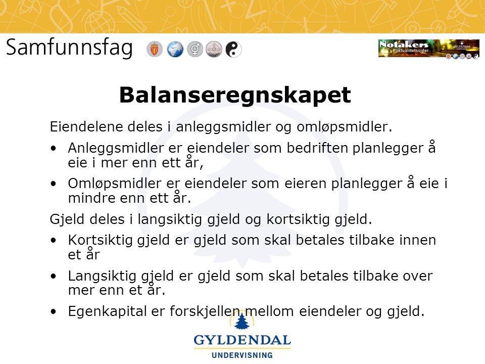 Balanseregnskapet Eiendelene deles i anleggsmidler og omløpsmidler.