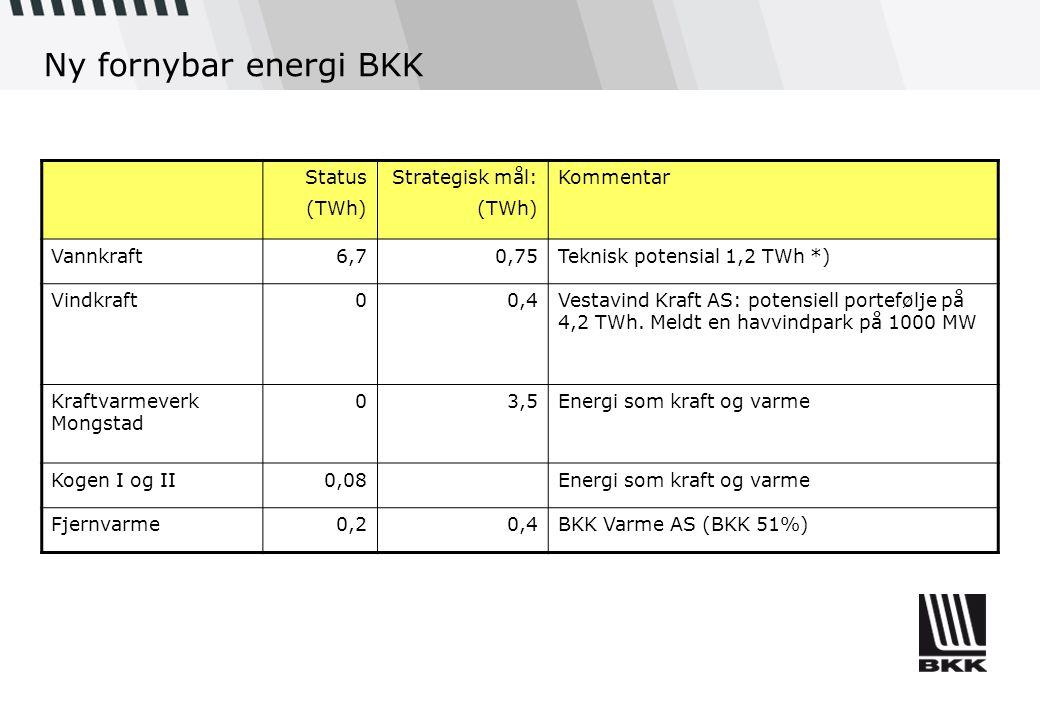 Ny fornybar energi BKK Status (TWh) Strategisk mål: (TWh) Kommentar Vannkraft6,70,75Teknisk potensial 1,2 TWh *) Vindkraft00,4Vestavind Kraft AS: pote