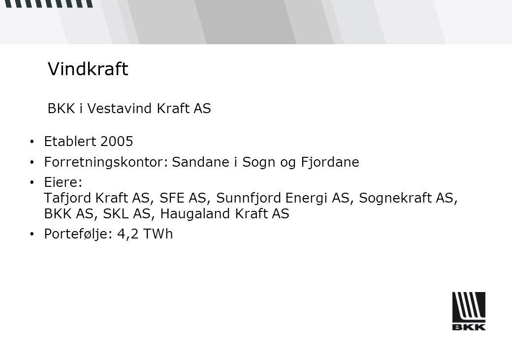 Vindkraft BKK i Vestavind Kraft AS • Etablert 2005 • Forretningskontor: Sandane i Sogn og Fjordane • Eiere: Tafjord Kraft AS, SFE AS, Sunnfjord Energi AS, Sognekraft AS, BKK AS, SKL AS, Haugaland Kraft AS • Portefølje: 4,2 TWh