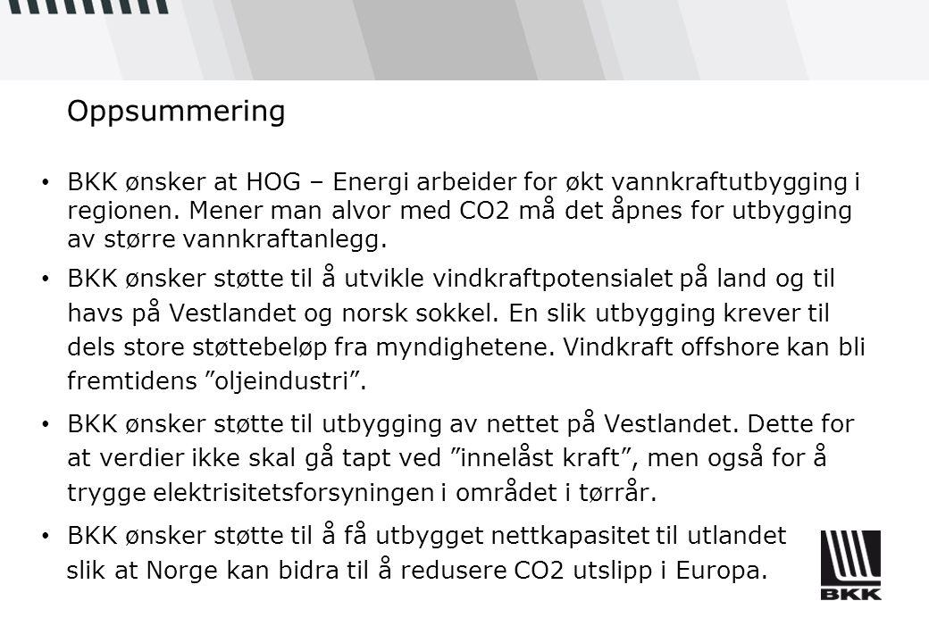 Oppsummering • BKK ønsker at HOG – Energi arbeider for økt vannkraftutbygging i regionen. Mener man alvor med CO2 må det åpnes for utbygging av større