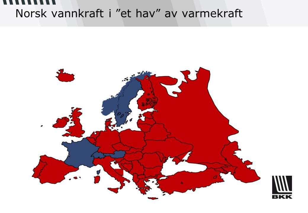 """Norsk vannkraft i """"et hav"""" av varmekraft"""