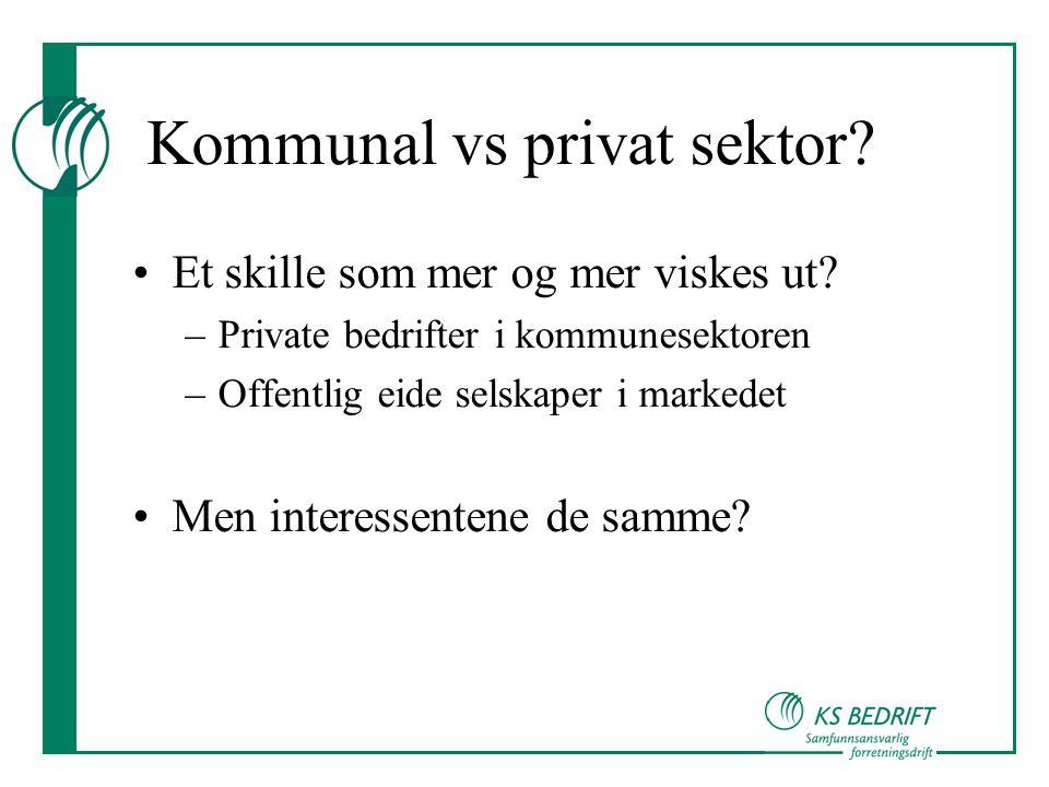 Kommunal vs privat sektor.•Et skille som mer og mer viskes ut.
