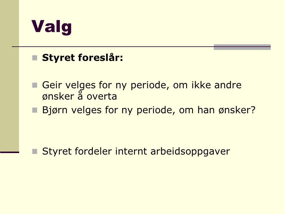 Valg  Styret foreslår:  Geir velges for ny periode, om ikke andre ønsker å overta  Bjørn velges for ny periode, om han ønsker?  Styret fordeler in